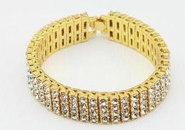 "$enCountryForm.capitalKeyWord Canada - 2019 mens brace 4 Row Diamond Simulate Bracelet Men's Gold Silver Finish 8"" 14mm Rhinestone Iced Out Hip Hop Bling Bracelet Cool Jewelry"