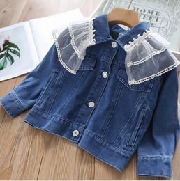 $enCountryForm.capitalKeyWord Australia - 2019 Fall Girls jean jacket kids splicing double lace falbala lapel denim outwear children lace patch long sleeve cowboy outwear F8799