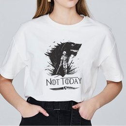 T Shirt Vintage Korean Australia - Women T-shirt Arya Stark Not Today Harajuku Tshirt Grunge Tumblr Aesthetic Vintage 90s Fashion Korean Summer Top Valar Dohaeris