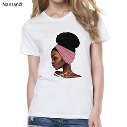 short curly hair men NZ - Melanin Poppin Shirt vogue t shirt women black African Curly Hair girl printed tshirt femme harajuku clothes female t-shirt tops