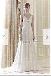 Silk Satin Sheath Wedding Dresses Australia - Sheath Column V-neck Sweep Brush Train Chiffon Wedding Dress 038