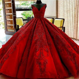arabic wedding dresses women UK - Real Image 2019 Dark Red A Line Wedding Dresses With Lace Applique Sweetheart Chapel Train Lace Up Bridal Parry Gowns For Arabic Women