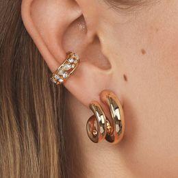 2019 New Lady's Basic Geometric Snails Shape Gold Earrings For Women Minimalist Rhinstone Ear Cuff For None Pierced Ears on Sale