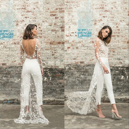 Wholesale long jumpsuit dress resale online – Beach Jumpsuit Wedding Dresses Jewel Neck Long Sleeve Backless Ankle Length Bridal Outfit Lace Summer Bride Gowns