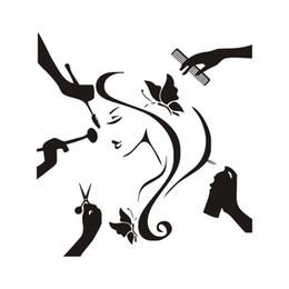 $enCountryForm.capitalKeyWord Australia - Girl Do Her Hair Wall Stickers For Beauty Shop Hair Salon Decor Vinyl Decal New Arrivals Wallpaper Removable Wall Tattoo