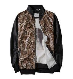 leopard print goods 2019 - good quality Camo Bomber Jacket Mens Spring Jackets Hip Hop Jaqueta Masculina Streetwear Leopard Print Coat cheap leopar