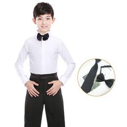 Rumba costumes online shopping - White Boys Latin Dance Costumes Shiny Spandex Modern Ballroom Tango Rumba Latin Shirts