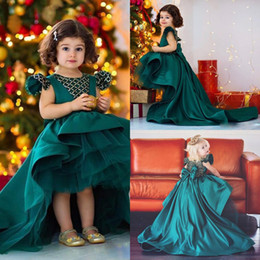 emerald black wedding dress Canada - 2020 Modern Emerald High Low Ball Gown Girls Pageant Dresses Draped Short Sleeves Beading Bow Ruffles Vintage Flower Girl Dress Communion