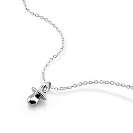 gold chain child UK - 100% 925 sterling silver baby simple pacifier rose gold necklace cute style children girl silver jewelry birthday gift wholesale