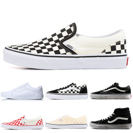 6820b8b589 Vans Authentic Old Skool Canvas Sneakers Fear of God Classic Slip-on Triple Black  White YACHT CLUB Mens Women Skateboard Casual Shoes