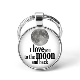Discount love chains for couples - I Love You To The Moon and Back Valentine's Keychain Love Jewelry Glass Pendant Key Chains for Couples Gift for Lov
