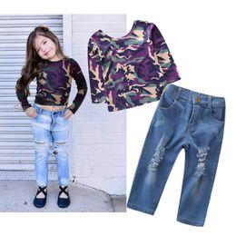Best Wholesale T Shirts Australia - 2019 new Girls Outfits Children Set backless T shirt+hole jeans Pants Kids Sets best Girl Suit kids designer clothes kids clothes A4250
