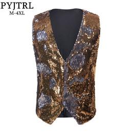 $enCountryForm.capitalKeyWord Australia - Pyjtrl New Mens Stylish Double-sided Sequins Waistcoat Gold Silver Red Purple Blue Black Pink Paillette Vest Dj Singers Costume Y190420