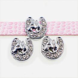 8mm sliding charms online shopping - 20pcs mm crystal horse U Slide DIY Charm for mm wristband belts bracelet