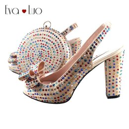 fbcad836bc BS941 Custom Made Champagne Multicolor Crystal Bow African Women Shoes With  Matching Bag Slingbacks Women Bridal Wedding Shoes