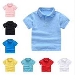 Kids Polo Tops Australia - DIY children short sleeve T-shirt kindergarten kids boy girl polo parent-child polo shirt custom print pure color summer shirt top tees
