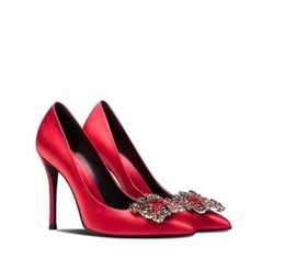 $enCountryForm.capitalKeyWord Australia - 2019 new silk rhinestone square buckle with diamond point stiletto high heel women bride shoes red wedding shoes