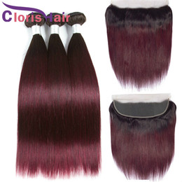 ombre hair frontal 2020 - Burgundy Ombre Human Hair Peruvian Virgin Straight Bundles With Closure Ear To Ear 13x4 Full Lace Frontal Colored 1B 99J