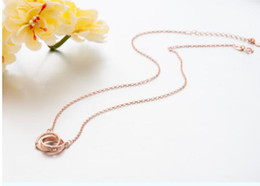 cheap sterling silver chains wholesale NZ - 925 Sterling Silver Double Ring LOVE Pendant Necklaces with Cubic Zirconia Silver Rose Gold Color Jewelry Gift Wholesale Cheap