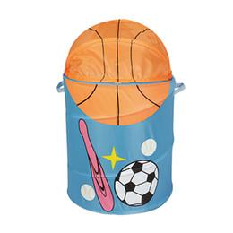 China Basketball Storage Baskets Baseball Football Laundry Basket Waterproof Fabric art Folding Laundry Bag Sundry Bucket kids Handbags GGA1891 cheap fabric laundry baskets suppliers