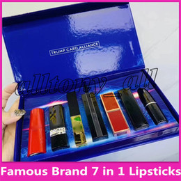 $enCountryForm.capitalKeyWord Australia - Hot brand 7 in 1 Lip Makeup Set trump card alliance Matte Lipstick Luster Retro Lipsticks Frost Sexy Lip MakeUp set