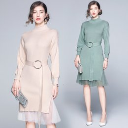 long sleeve maxi dresses Australia - New listing Womens dress Slim thin section bottoming two-piece long-sleeved high-necked knit dress