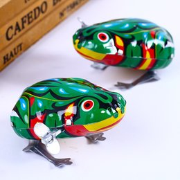 $enCountryForm.capitalKeyWord Australia - Kids Collectible Classic Tin Wind Up Clockwork Toys Jumping Frog Vintage Toy For Children Boys Educational