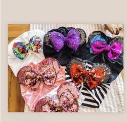 $enCountryForm.capitalKeyWord Australia - 2019 Spring summer infant Beanie Turban Hat Baby Mouse Bow Ears Hairband With Sequin Hair Bows Photography Props cap