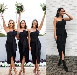 Strapless Satin Short Wedding Dresses Australia - Tea Length Little Black Strapless Short Bridesmaid Dresses Sheath Front Split Maid of Honor Gowns Cheap Wedding Party Guest Wear