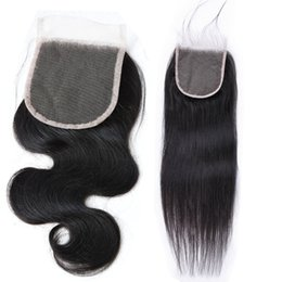 brazilian virgin hair bleached UK - New 4x4 Top Transparent Lace Closures 10A Chinese Cambodian Burmese Mongolian Virgin Hair Body Wave Bleached Knots Wavy Straight Free