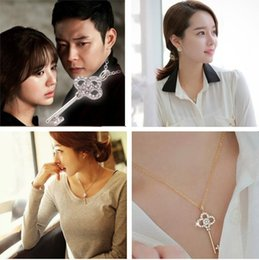 Necklaces Pendants Australia - Hot new Pendant Necklaces Chain Long Strip Key Crystal Pendants Jewelry collier femme Gold Silver Plated Chain Rhinestone WCW174