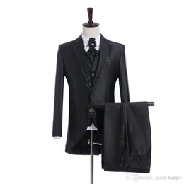 $enCountryForm.capitalKeyWord UK - 2019 Morning Style Navy Blue Groom Tuxedos Peak Lapel Groomsmen Best Man Suits Mens Wedding Blazer Suits (Jacket+Pants+Vest+Tie)