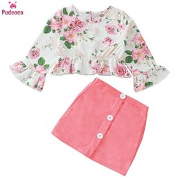 Discount year girls outfits - 1-5 Year Children Kid Baby Girls Clothes Sets Long Sleeve Floral Printed T-shirt Top & Mini Skirt 2PCS Outfits