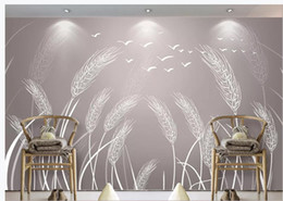 yarn painting UK - modern living room wallpapers Chinese style idyllic reed wheat and flowers simple hand-painted sofa background wall painting