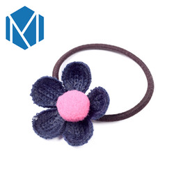 gum hair UK - Kids Fashion Flower Hair Accessories Girls Headband Rubber Band Child Gum For Hair Ornament Female Knit Floral Elastic Hairband
