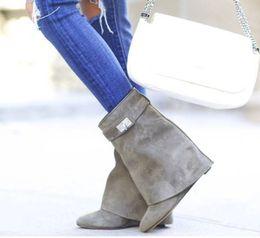 $enCountryForm.capitalKeyWord Australia - Designer Metallic Shark Lock Women Ankle Boots 14 Colors High-heeled Pumps Leather Short Booties Strap Wedges Shoes Large Size