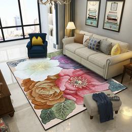 Living room fLoor mats fLoraL online shopping - American classical simple D large flower floral door mat Bedroom living room floor mat Bedside carpet velvet plush printing rug