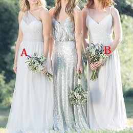 Discount black red color mixed gown dress - 2019 New Style Elegant Silver Chiffon Bridesmaid Dress Mixed Style Country Garden Maid of Honor Wedding Guest Gowns BM06