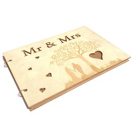signed books UK - 20 Pages Wooden Guest Sign Book for Birthday Party Reception Wedding Mr & Mrs Personalised Home Decoration Signature Book
