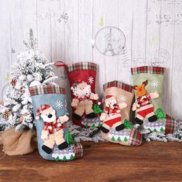 Discount hang bear bag Snowman Santa Bear Xmas Gift Stocking Sock Candy Bag Tree Party Hanging Ornament New