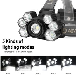 adjustable headlamp NZ - XPE T6 Head Lamp High Power 8000 Lumen USB Rechargeable LED Headlamp5 mode adjustable high power led headlamp with batteries wholesale
