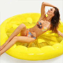 Kids Summer Pools Inflatables Australia - Inflatable Lemon Water Toy Giant Floating Bed Raft Air Mattress Summer Holiday Swmming Ring Creative water fun toys Pool Floats 150cm LT670