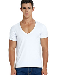 25c47152 Deep V Neck T Shirt for Men Low Cut Scoop Neck Top Tees Drop Tail Short  Sleeve Male Cotton Casual