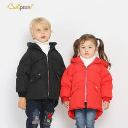 Brown Jacket For Boys NZ - Kids Boys 2019 Spring Winter Down Jackets for Girls Parkas for Boys Parkas Children Warm Hooded Outerwear Coats Girls Clothes