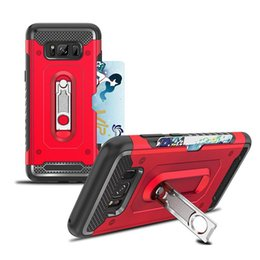 Wholesale Card Ring Australia - For Samsung Galaxy S8 S9 S10e Kickstand Ring Armor Hybrid Case Cards Holder For iPhone XS MAX XR X 8 7 6 Plus