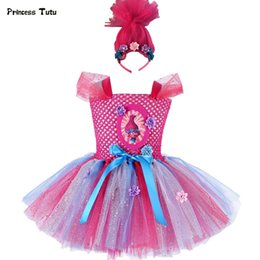 Red Dressed Cartoon Girl Australia - Troll Poppy Tutu Dress Baby Girl Tulle Princess Dress Kids Halloween Cosplay Costume Girl Festival Birthday Party Cartoon Dress J190505