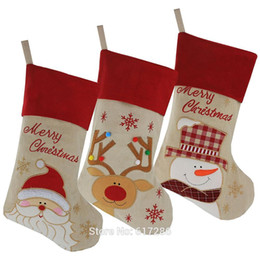 christmas snowman ornaments sale NZ - Free shipping! New 3pcs set Christmas Stocking Santa Claus Snowman Reindeer Gift Ornament Socks Christmas Decoration Hot Sale