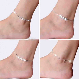 Hot Girls Feet Chain Australia - 2018 New Foot Jewelry Anklets Hot Sale Silver Anklet Link Chain For Women Girl Foot Bracelets Fashion Jewelry Wholesale Free Shipping