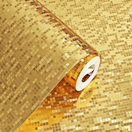 Discount embossed foil paper - Luxury Silver Gold Foil Wallpaper 3d Stereoscopic Waterproof Grid Wallpapers Roll Fashion Mosaic Ktv Wall Paper Home Dec