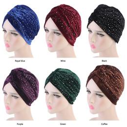Neon Beanies Wholesale Australia - Women Rhinestoned Velvet Turban Neon Casual Twist Stretch Turban Headband Chemo Hat Hijab Turbante Hair Accessories Nice Gift